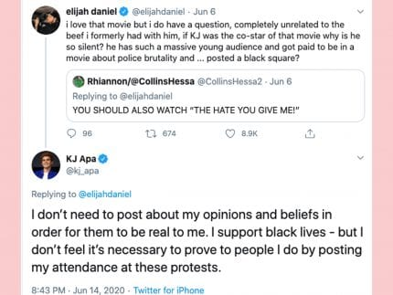 KJ Apa Responds To Critique That He's Been 'Silent' About Black Lives Issue