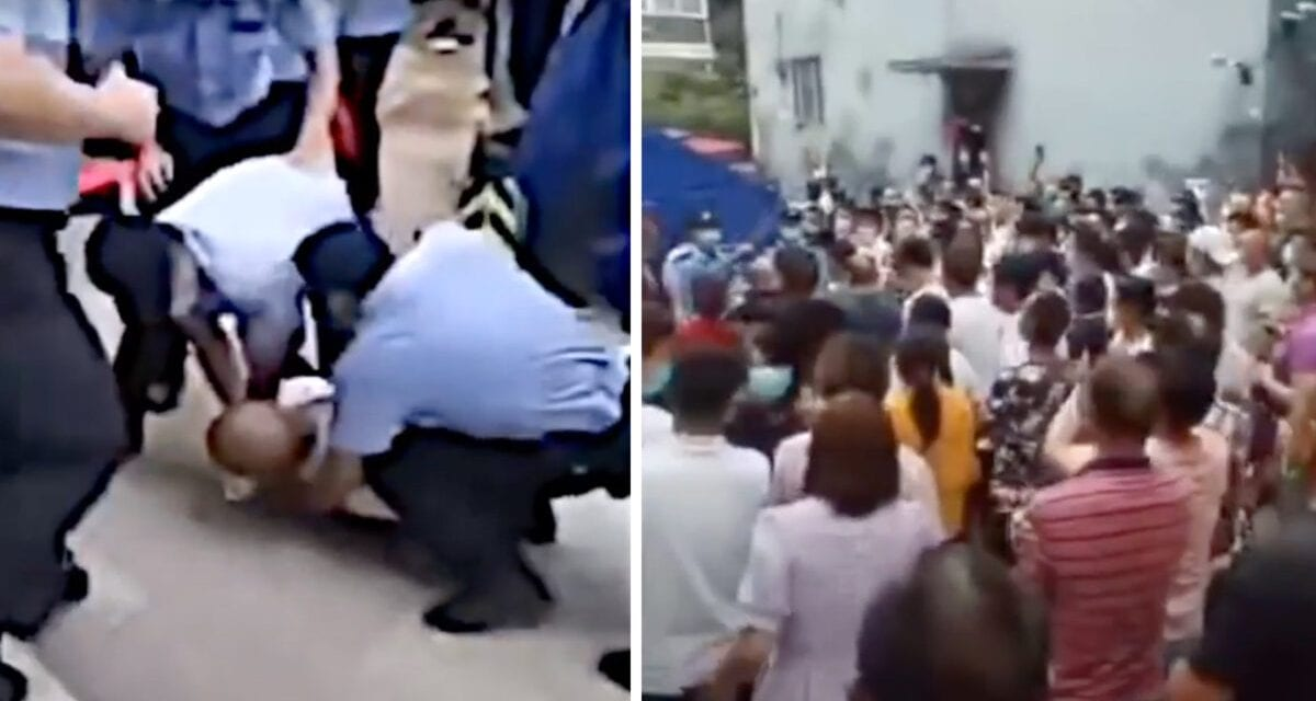 Beijing Residents Clash With Law enforcement Making a Profit at Gate Entry