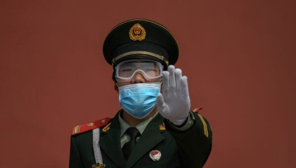 A Chinese paramilitary police officer