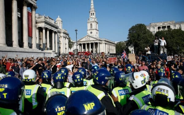 Law enforcement Clash With Protesters from Anti-Lockdown Demonstration in London