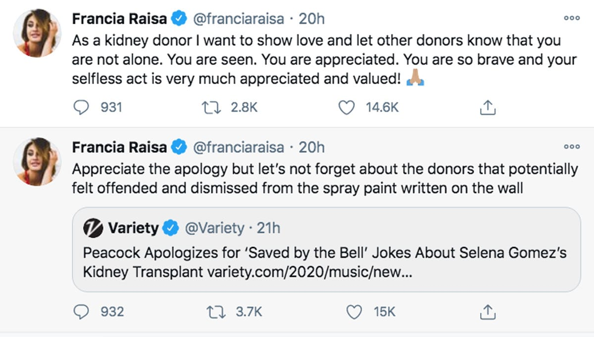 Francia Raisa responds to the questionable Saved By The Bell restart jokes about Selena Gomez' s kidney transplant